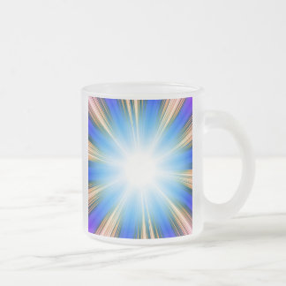 Blue Solar Flare Star Burst Background Frosted Glass Mug