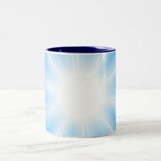 Blue Solar Flare Star Burst Background Two-Tone Mug