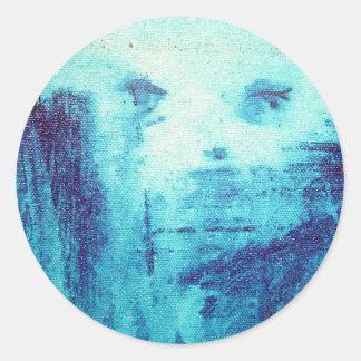 blue soul face round sticker
