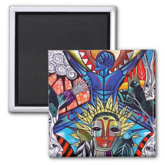Blue Soul Rising by Gregory Gallo Square Magnet