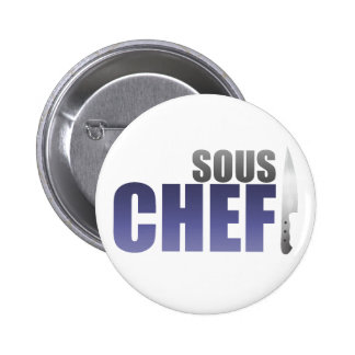 Blue Sous Chef 6 Cm Round Badge