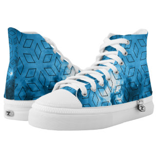 Blue space diamonds printed shoes
