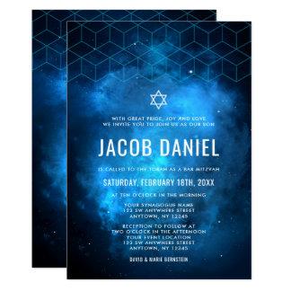 Blue Space Galaxy Bar Mitzvah Invitations