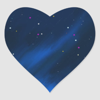 Blue space mist. heart sticker