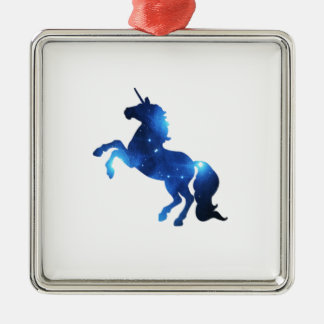 Blue Space Unicorn Horse Christmas Ornament