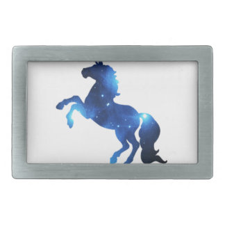Blue Space Unicorn Horse Rectangular Belt Buckle