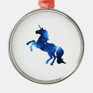 Blue Space Unicorn Horse Silver-Colored Round Decoration