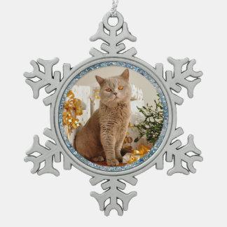 Blue Sparkle Border Cat and Pet Photo Ornament