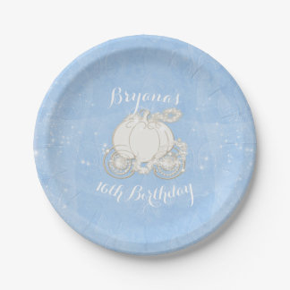 Blue Sparkle Carriage Elegant Cinderella Party 7 Inch Paper Plate