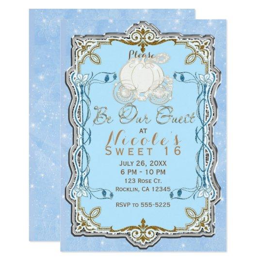 Blue Sparkle Carriage Silver Gold Cinderella Party Card