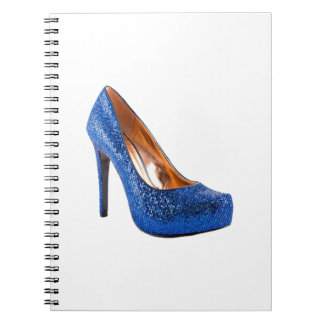 Blue Sparkle High Heel Shoe Fashion Note Book