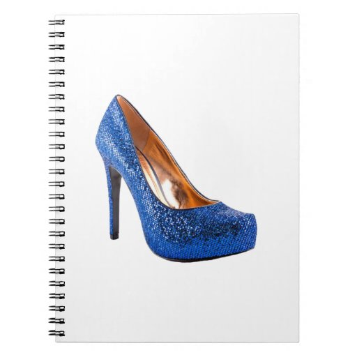 Blue Sparkle High Heel Shoe Fashion Note Book
