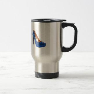 Blue Sparkle High Heel Shoe Fashion Stainless Steel Travel Mug