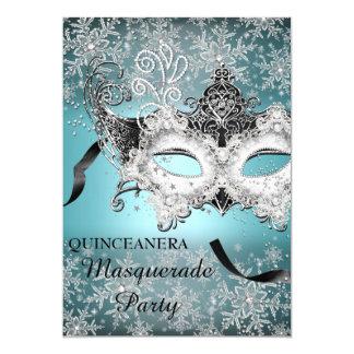 Blue Sparkle Snowflake Masquerade Quinceanera 13 Cm X 18 Cm Invitation Card