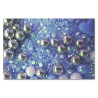 Blue Sparkles and Love Hearts Tissue Paper