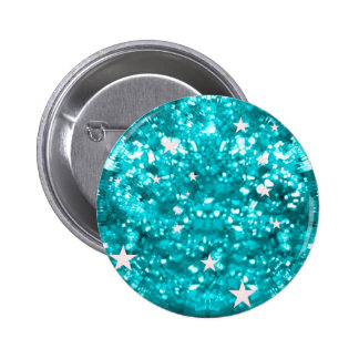 Blue sparkles glitter and stars button