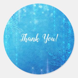 Blue Sparkling Frozen Ice Winter Bridal Shower Classic Round Sticker