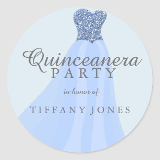 Blue Sparkling Glitter Gown Quinceanera Party Classic Round Sticker