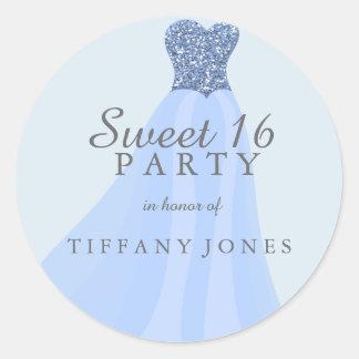 Blue Sparkling Glitter Gown Sweet 16 Party Round Sticker