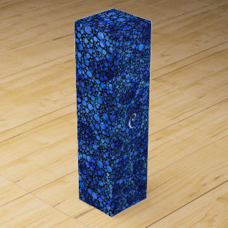 Blue Speckled Abstract Wine Bottle Boxes