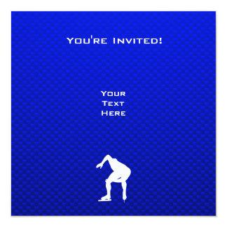 Blue Speed Skater 13 Cm X 13 Cm Square Invitation Card