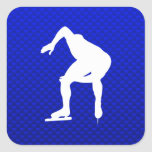 Blue Speed Skater Square Stickers
