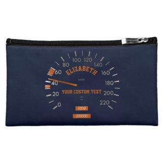Blue Speedometer on Dashboard Cosmetic Bag