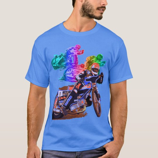 Blue Speedway Motorcycle Racer T-Shirt