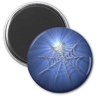 Blue Spider Web Gleaming in the Sun Stickers 6 Cm Round Magnet