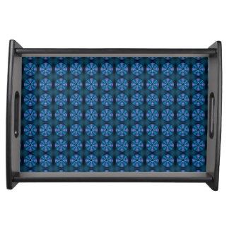 Blue spinning atom pattern serving tray