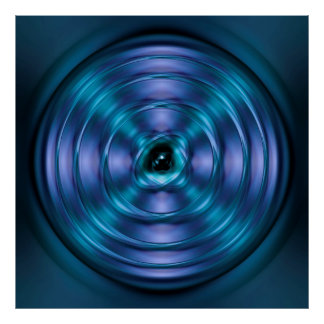 Blue spinning atom poster