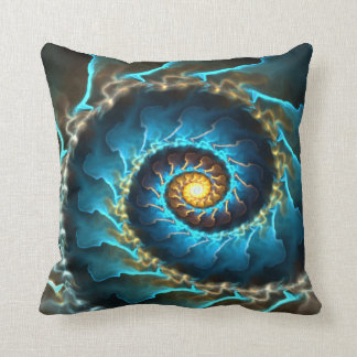 blue spiral abstract design fractal cushion