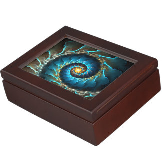 blue spiral abstract design fractal keepsake box