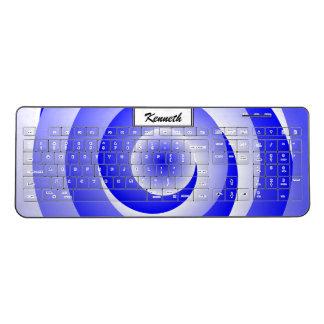 Blue Spiral Illusion by Kenneth Yoncich Wireless Keyboard
