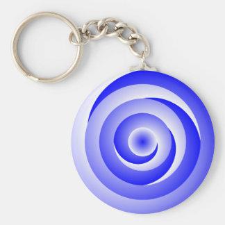 Blue Spiral Illusion Keychain