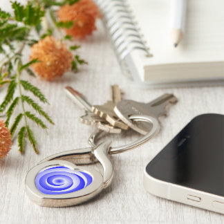 Blue Spiral Illusion Silver-Colored Twisted Heart Keychain