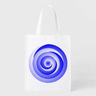 Blue Spiral Illusion Grocery Bag