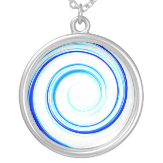 Blue Spiral Silver Plated Necklace