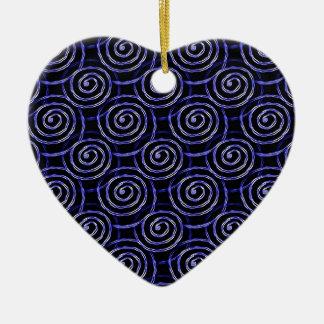 Blue Spirals Ceramic Heart Decoration