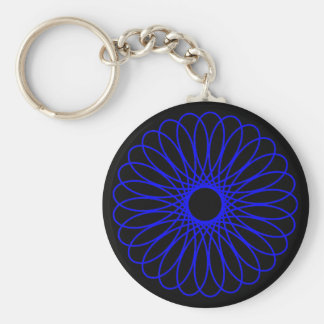 Blue Spirograph Basic Round Button Key Ring