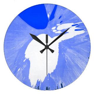 Blue Splash. Large Clock
