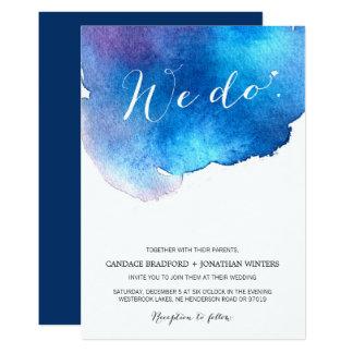Blue Splash Watercolor Wedding Card