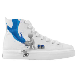 Blue Splattered Paint High Tops