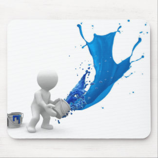 Blue Splattered Paint Mouse Pad