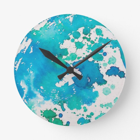 Blue Splodged Marble Effect Watercolour Round Clock