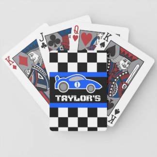 Blue sports auto car name age playing cards