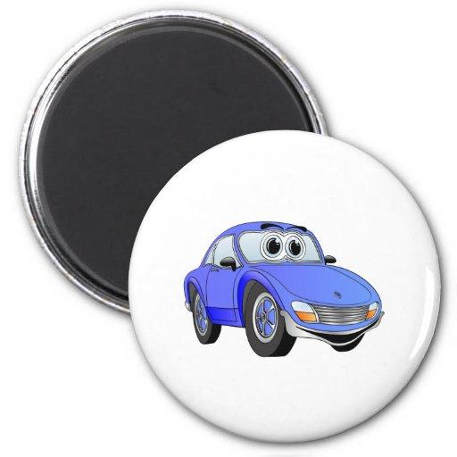 Blue Sports Car Cartoon Refrigerator Magnets