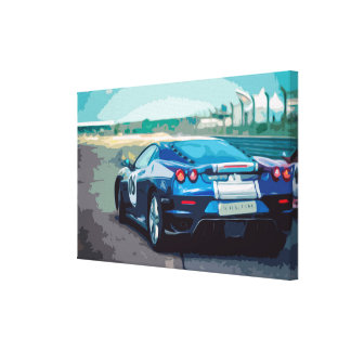 Blue sport's Car on a Racing Track Canvas