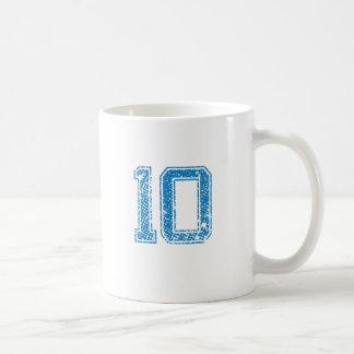Blue Sports Jerzee Number 10 Basic White Mug
