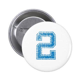 Blue Sports Jerzee Number 2 6 Cm Round Badge